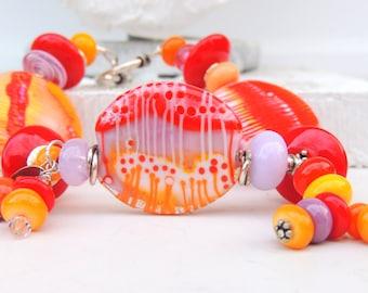 HAPPY Handmade Lampwork Bead Bracelet