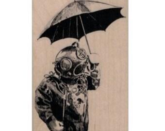 Diver Holding Umbrella  rubber stamp  Rubber Stamp   tateam EUC team  19929