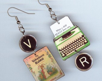 Book cover Earrings - The Velveteen Rabbit quote - Typewriter key jewelry- literary readers pre school teacher gift - mismatched asmmetrical