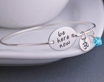 Yoga Jewelry, Be Present, Be Here Now, Yoga Bracelet, Modern Zen Jewelry, Silver Yoga Bracelet
