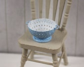 Dolls House Miniature Blue Colander Strainer in 1:12 scale