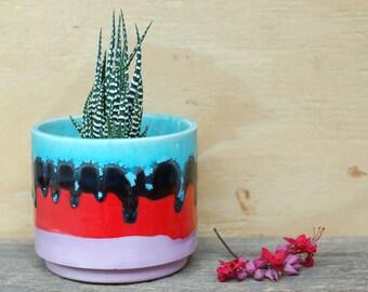 Round Ceramic Planter- Cactus - Succulent Planter- Handmade Planter - Stripes- Ceramics and Pottery - Modern Ceramics
