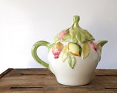 sale vintage Tea Pot / Hand Painted made in Portugal / Pears Plums Apples Fruit Leaves / Figural / Pink Green Cream