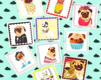 Postage Stamp Stickers, Cool Pug Stickers, Cute French Bulldog Dog Stickers,Planner Stickers,Envelope Seals,Hipster Stickers,Kawaii Stickers