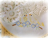 4 assorted round vintage doilies embroidered birds hand crochet edging crochet doilies crocheted by hand white with marigold