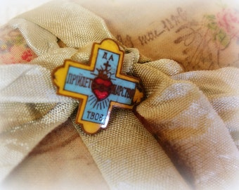 antique victorian enamel league of the sacred heart badge cross pin gold blue and red enamel greek cross foreign text