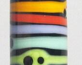 Skinny Mini Rainbow Barrel--Handmade Lampwork Glass Bead