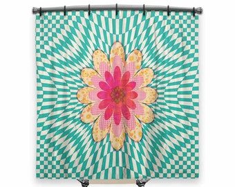 Shower Curtain, turquoise Shower curtain, Floral shower curtain, Boho shower curtain, shower curtain for kids, Bath Decor, Whimsical decor