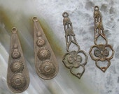 Two pairs of fine old brass earring drops components..