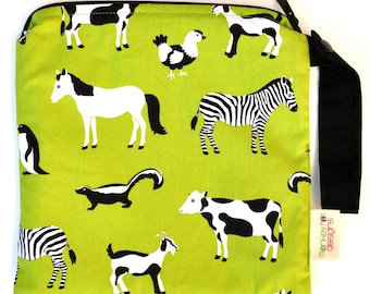 Small 9 x 9 Wet bag / Snack / Swim / Diapers / Lime Zoo Menagerie Fabric / SEALED SEAMS and Snap Strap