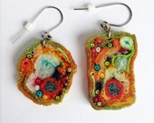 Asymmetrical Earrings//recycled fiber jewelry//unusual millefiori artwprk//orange green PAPAYA pierced//textile art FABRIC JEWELS Meg Hannan