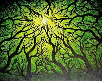 Deep green forest, trees, Original fine art, Acrylic painting by Jordanka Yaretz, UNICEF Artist