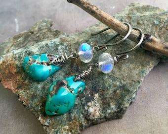Turquoise Nugget & Moonstone Earrings