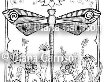 Dragonfly Garden Digi Digital Stamp