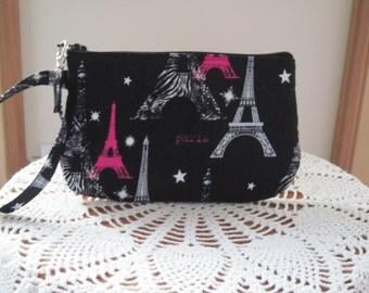 I Iove Paris Clutch Wristlet Zipper Gadget Pouch Smart Phone Bag