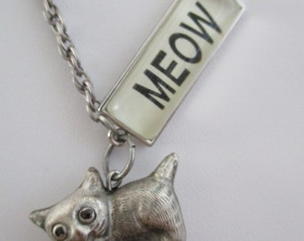 Cats MEOW Vintage Cat Charm Necklace
