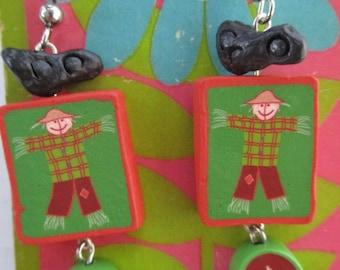 Scarecrow Corn and Crow Dangle Earrings