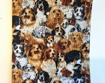 """Large Book Cover, Fits Book Size 5 1/2"""" x 8 1/2"""", Dog Print Fabric, Dog Book Cover, Book cover for Large Book, Dog, Puppy, Doggy, Bookmark"""