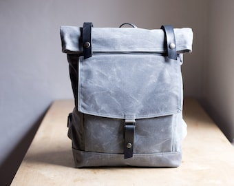 Backpack no.1 in Gray waxed canvas