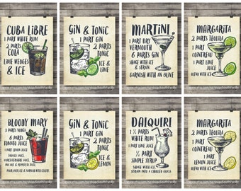 Set of six Cocktails art prints | printable Cocktail Illustrations | Bar Decor | Kitchen decor | Classic cocktail recipes | Printable