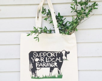Canvas tote bag Support your local farmer hand drawn typography black and white cow