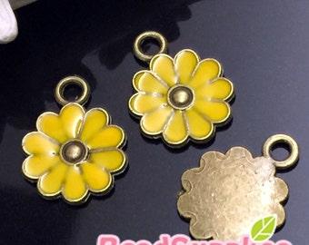 CH-EX-03142SY- Antique brass, cutie daisy  charm,sunlight yellow, 6 pcs