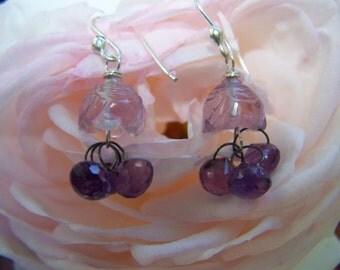 Carved Amethyst cap, amethyst briolette, sterling silver French earwire earrings