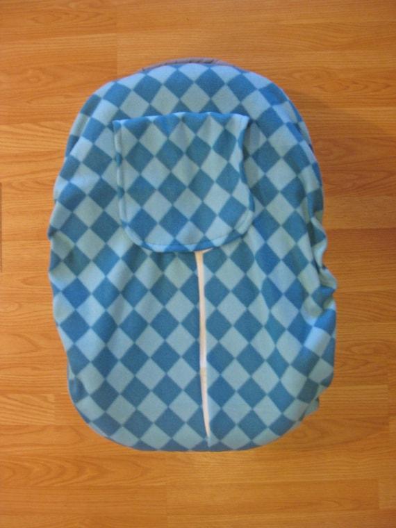 Aqua Diamond Fleece Infant Car Seat Cover