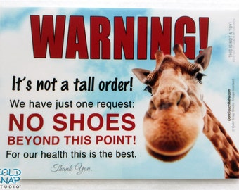TAKE OFF SHOES at the Door Sign, Not a Tall Order - No Shoes Beyond This Point - Cute Giraffe Door Sign