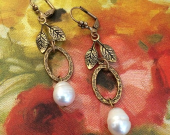 Pearl and Brass Wedding Earring by Lusicious