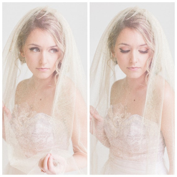 """Shimmering Gold """"Golden Hour"""" Veil. The Perfect Vintage Modern Wedding Bridal Accessory."""