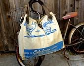 Eschelman chicken Feed - Pennsylvania  - Open Tote - Americana OOAK Canvas & Leather Tote W... Selina Vaughan Studios
