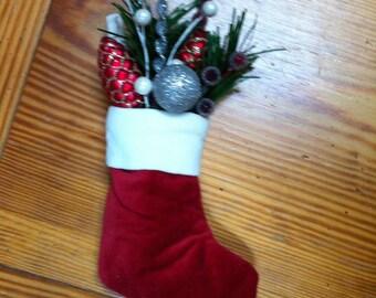 Christmas red velvet stocking arrangement