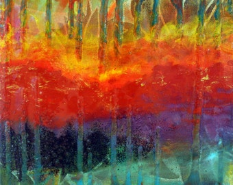 Fire on the Mountain mixed media painting by Maxine Orange