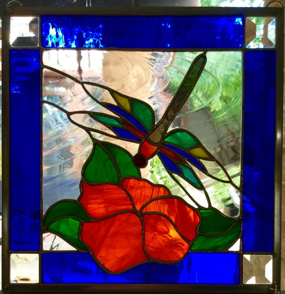 Dragonfly 'n Magnolia Stained Glass Window Panel 12x12