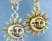Sun and Moon Celestial Silver or Gold Add A Charm Slide On European, Clip On Clip, 316L Belly Ring