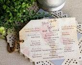 Wedding Program Tag Shaped Vintage World Map Travel  Destination Wedding