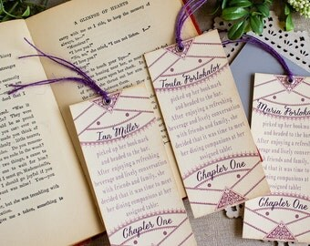 Literary themed Vintage Story Book in Plum and Wine Wedding Reception bookmark Escort or Place Card Library Wedding