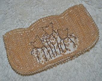 TULIP TULIPS - vintage small beaded glass pearl handbag with tulip design