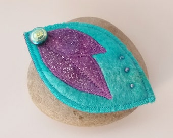 Brooch Pin Felt Leaf Turquoise and Purple