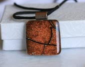 Necklace Pendant Rustic Dichroic Fused Glass 001250