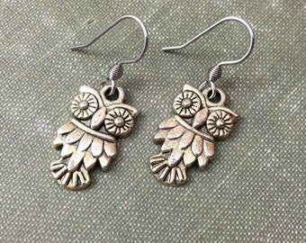 OWL Earrings | Simple Antiqued Silver on French Hooks