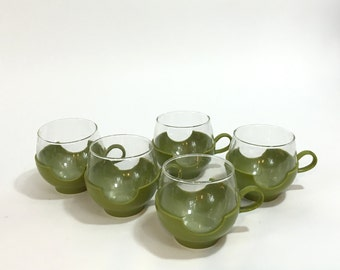 Pyrex Roly Poly Glass and Holder ~ Avocado Green Pyrex Holder ~ Glass Roly Poly ~ Drinking Glass ~ Handled Roly Poly Cup ~ Pyrex Glass