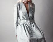 aesop striped skirt suit / full midi skirt set / white blazer / s / m / 1283t