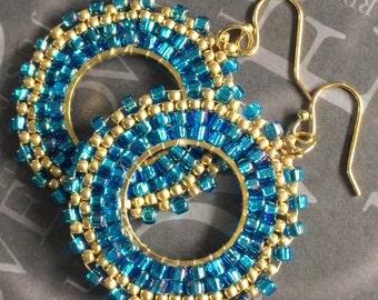 Seed Bead Hoop Earrings - Small Aqua Blue  and Gold Beaded Hoops - Handmade Jewelry
