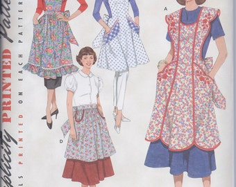 Simplicity 3544 Misses Retro 1940s 1950s Aprons  NEW UNCUT size S M L Sewing Pattern