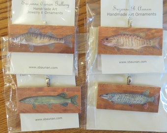 Muskie, Northern Pike, Small Mouth Bass, Walleye Fishing Fish Fisherman Gift Decoupaged Ornament or Pendant