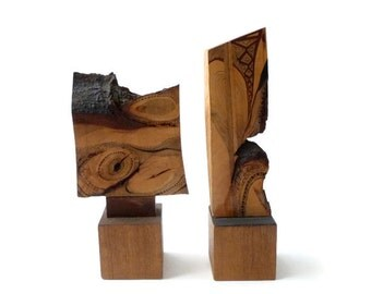 SUMMER SALE Abstract Modernist Wood Sculpture Pair by Jay Rivkin   Mid Century Modern  California