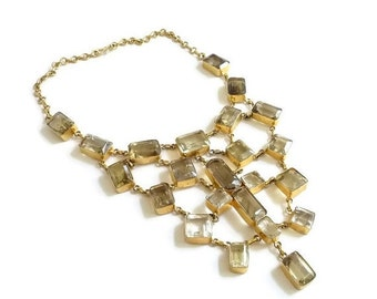 SUMMER SALE Massive Statement Necklace  Vermeil and Citrine