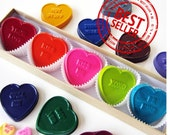 Kids' Conversation HEART CRAYONS, Valentine's Day Treat Set of 5, Coloring Party Favors, Eco-Friendly Toys in Assorted Colors, Free Gift Box